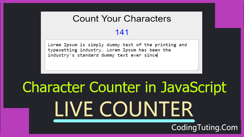 Character Count Online Tool in JavaScript
