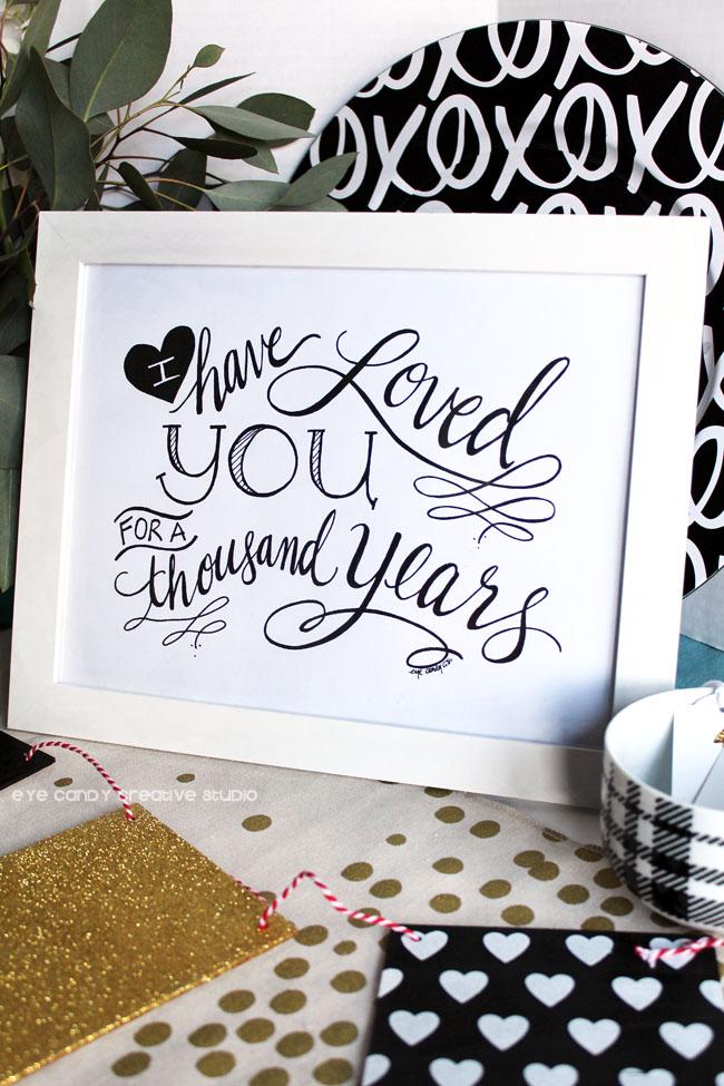 black & white hearts, black & gold decor, framed art, wedding, love