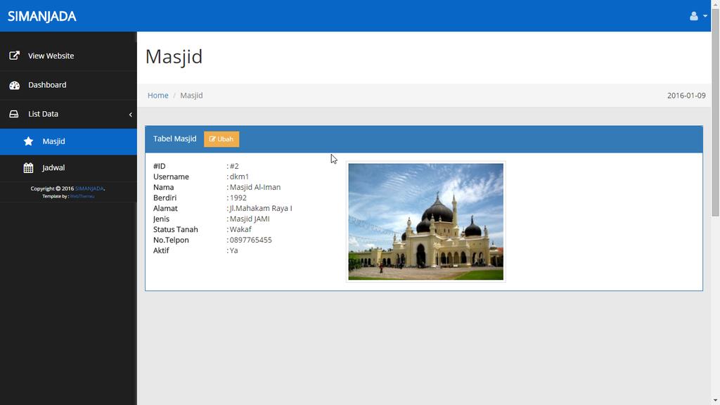 Tampilan detail masjid DKM - SIMANJADA - romadhon-byar dot com
