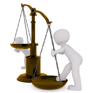 Balancing Scale: 3-D Figure is Climbing into One Side