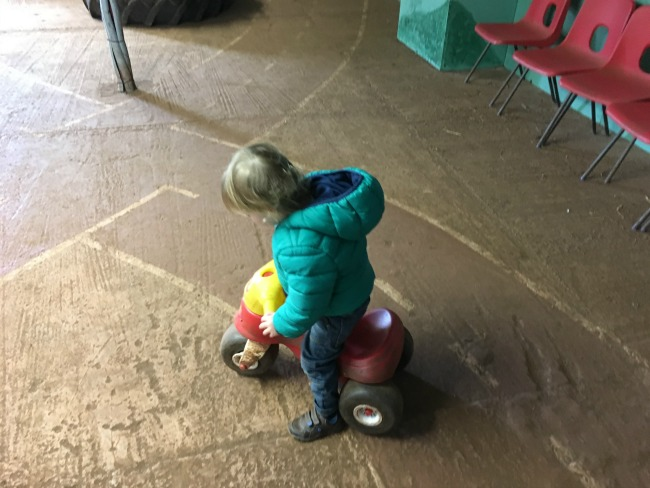 toddler astride a pedal bike