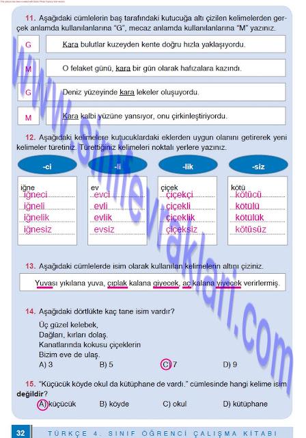 4. Sınıf Türkçe Çalışma Kitabı Cevapları Doku Yayınları Sayfa 32