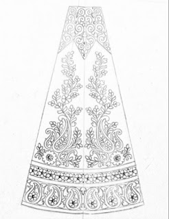 New model 2018/2019 top 5 patterns for hand emroidery and machine embroidery lehenga design pencil sketch on tracing paper.fashions designer lehenga pattern sketch on paper