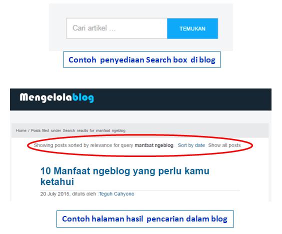 Contoh halaman hasil pencarian dan widget search box
