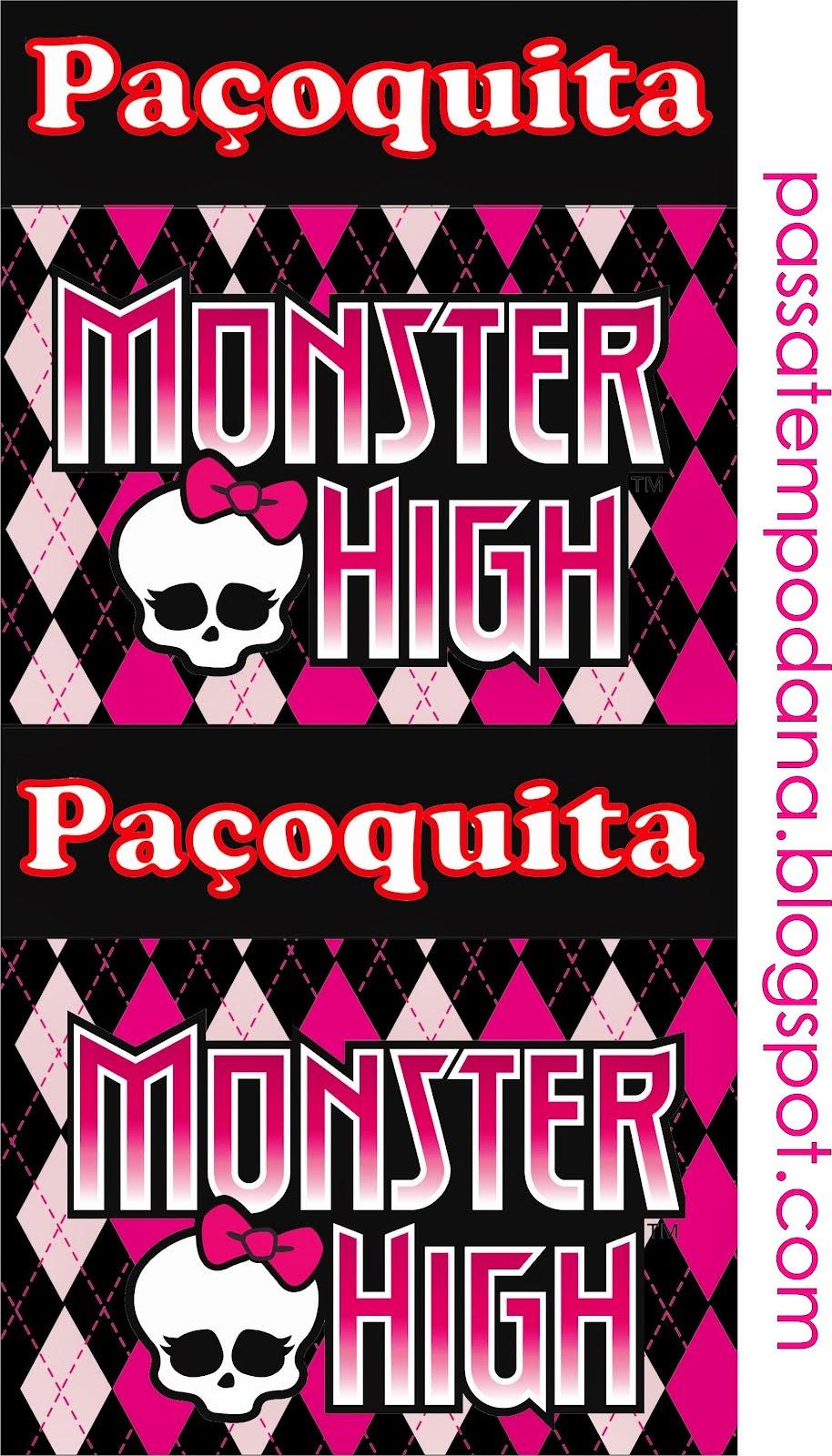 Etiquetas para Candy Bar de Monster High Rosa para Imprimir Gratis.