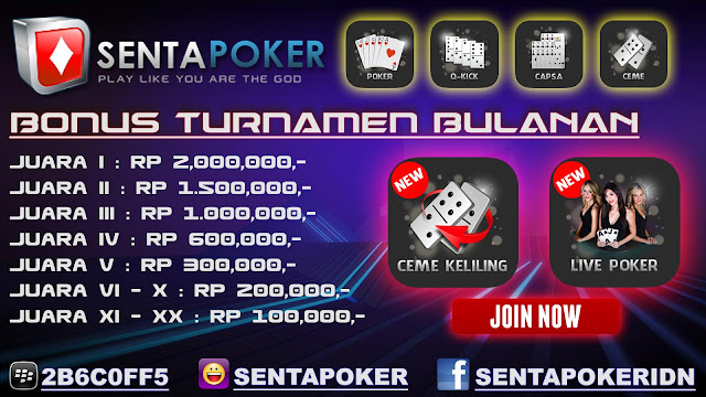 www.sentapoker.com Menyediakan Bonus Referral, Bonus Rollingan, dan BONUS TURNAMEN Sentapoker