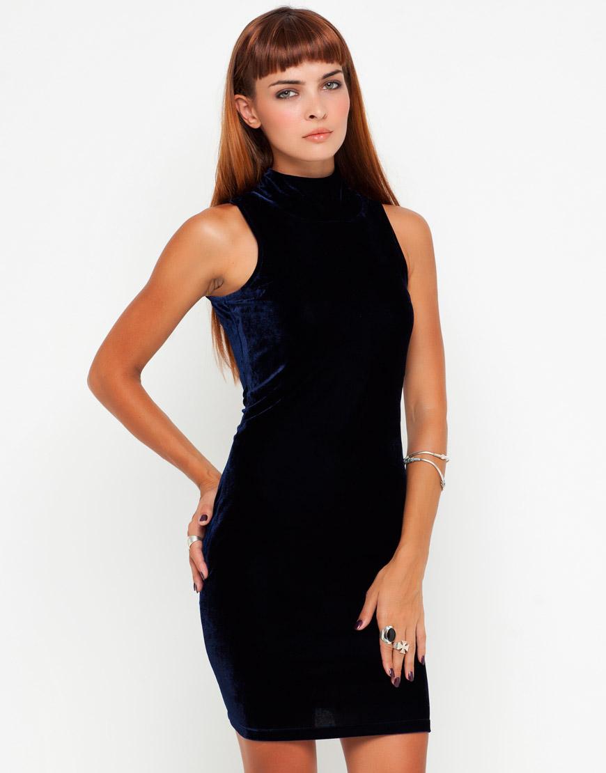 Motel Rocks Blue Velvet Bodycon Dress