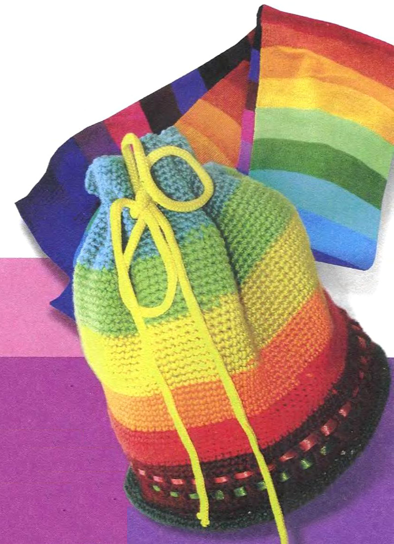 Cylindrical Rainbow Bag - crochet tutorial