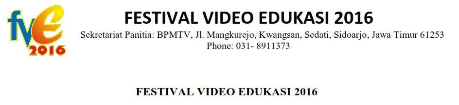 Festival Video Edukasi (FVE) 2016