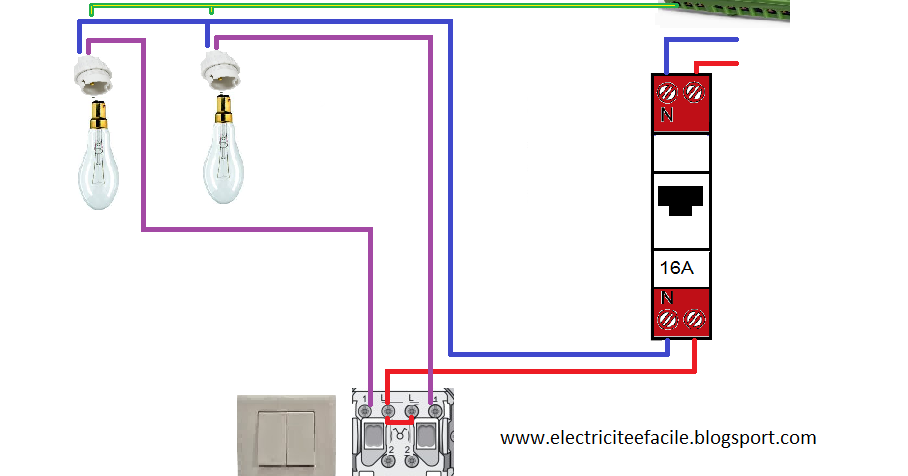 comment installer un interrupteur double allumage schema electrique. Black Bedroom Furniture Sets. Home Design Ideas