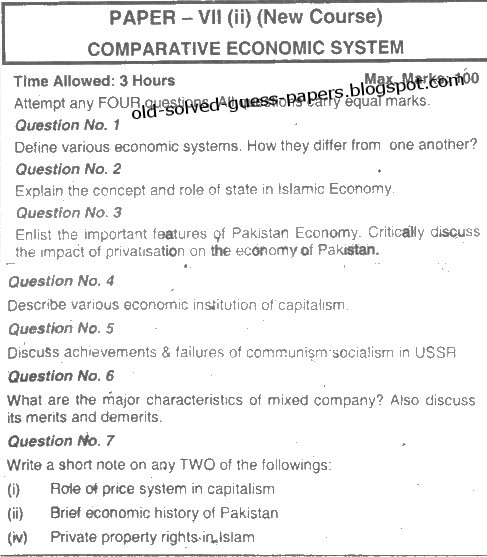 Essay on Economic Systems