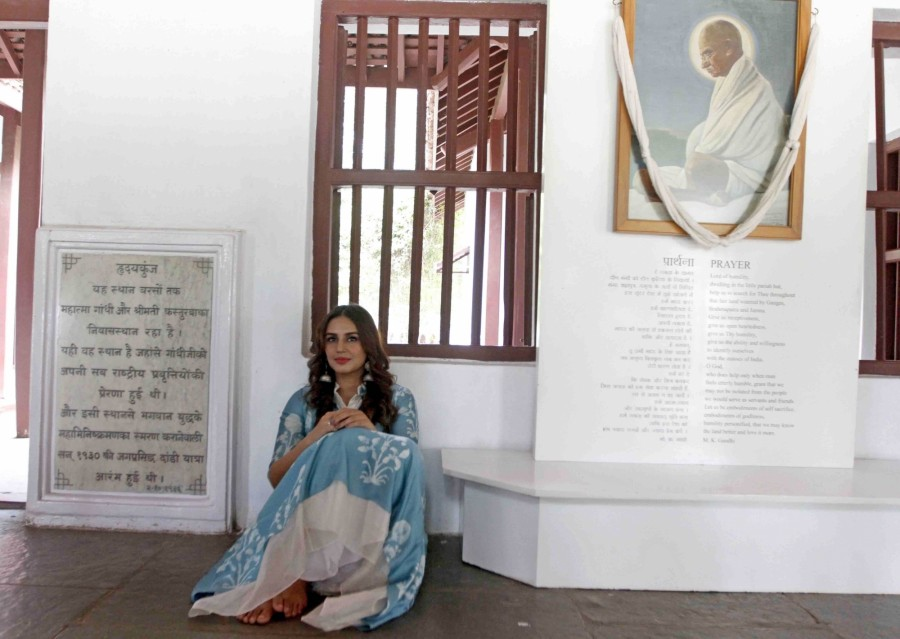 Huma Qureshi Visits Sabarmati Ashram In Ahmedabad