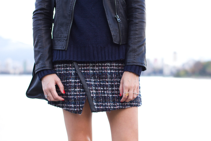 Vancouver Style Blogger, Alison Hutchinson, is wearing a plaid Zara Skirt, Topshop black leather jacket, Sam Edelman buckle boots, and a Kate Spade Black Bag