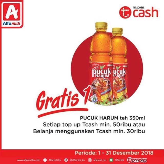 #Alfamart - Promo Top Up Tcash 50K Gratis 1 Teh Pucuk (s.d 31 Des 2018)