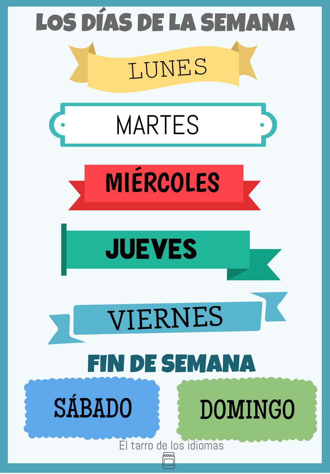Poster Meses Del Ano Y Dias De La Semana Espanol Ingles Y Frances