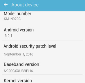 Galaxy Note 5 SM-N920C September Security Patch Updates