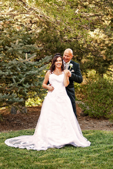 photograph of a very happy bride and groom during their outdoor wedding in Golden Colorado