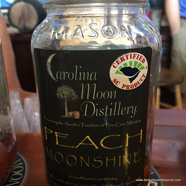 peach moonshine in Mason jar at Carolina Moon Distillery in Edgefield, South Carolina