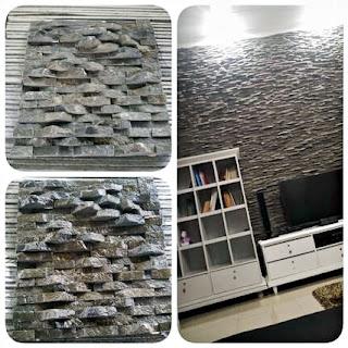 Contoh Gambar Batu Alam Wall Cladding Andesit 2 cm untuk Templek Dinding Rumah Minimalis