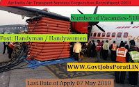 Air India Air Transport Services Corporation Recruitment 2018 – 518 Handyman / Handywomen
