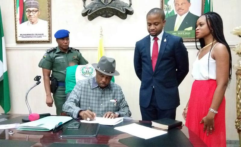 Governor Obiano swears in youngest Nigerian commissioner Mark Okoye