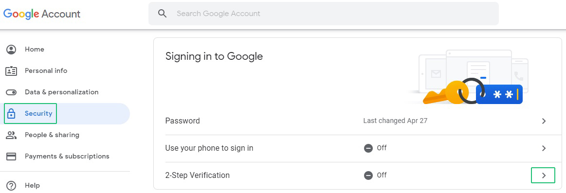 Turn on 2-Step Verification - Android - Google Account Help
