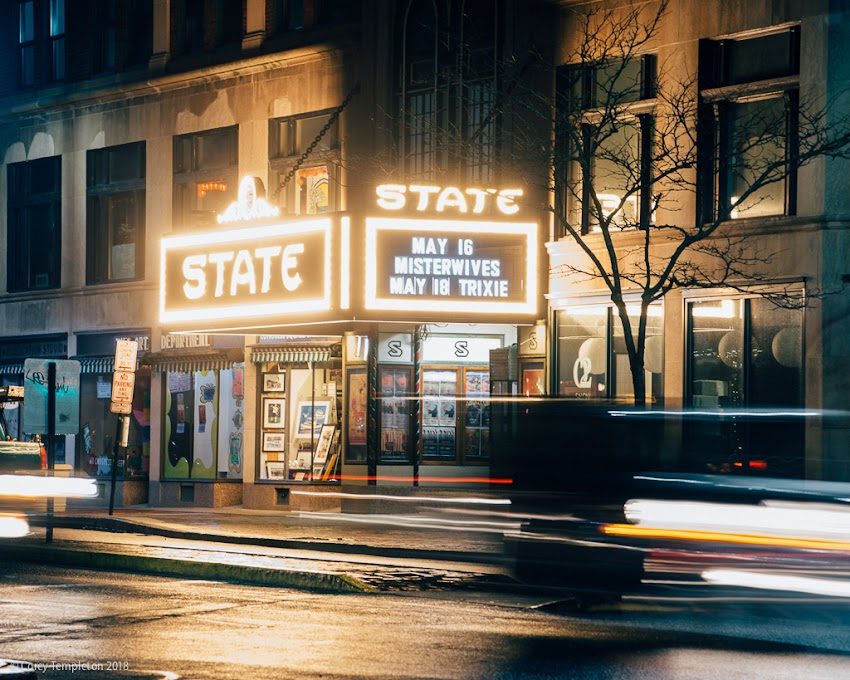 Portland, Maine USA May 2018 photo by Corey Templeton. I'm really digging the new marquee at the State Theatre. It's informative and lights up Congress Square. I foresee new some photo opportunities at this spot.