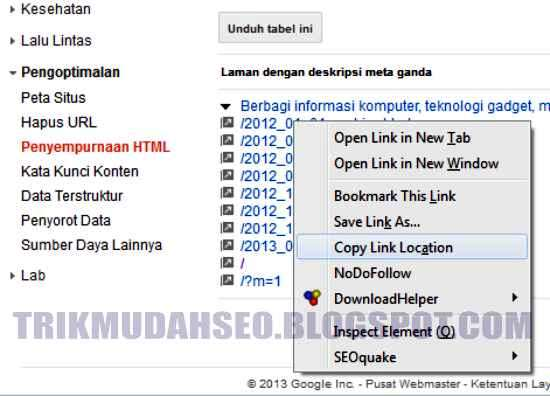 copy URL duplikat meta description ke sebuah notepad