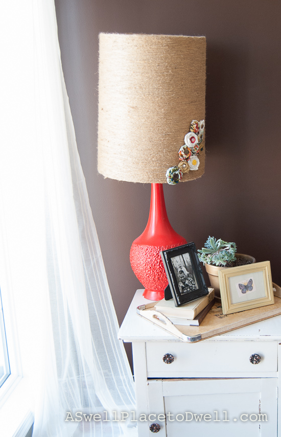 fabric rosette lampshade off kilter