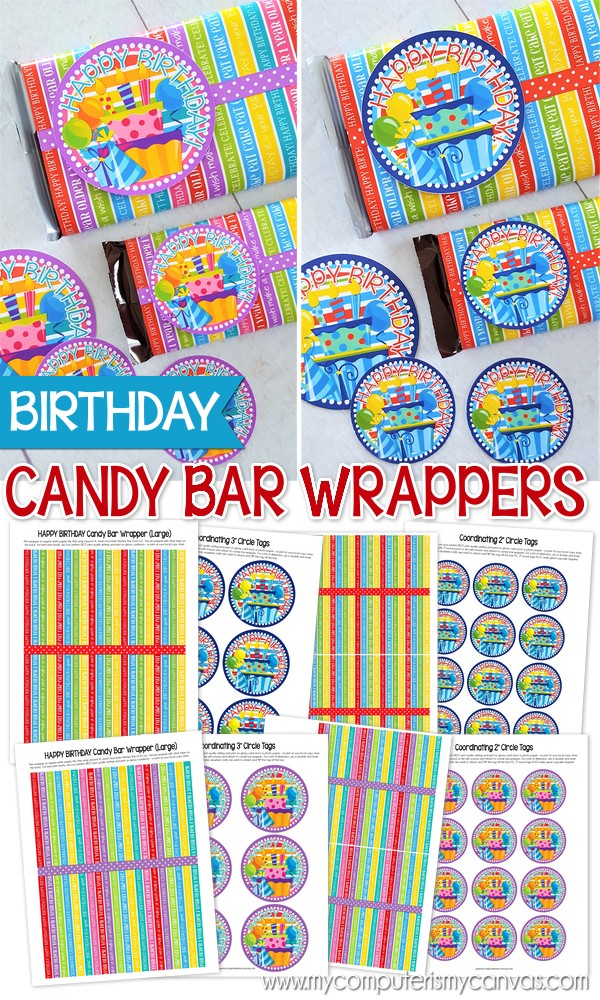 graphic regarding Printable Candy Wrappers identified as PRINTABLE Birthday Sweet Bar Wrappers! - My Laptop or computer is My