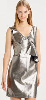 vestido de nochevieja con brillo de escote pico con volantes 2018