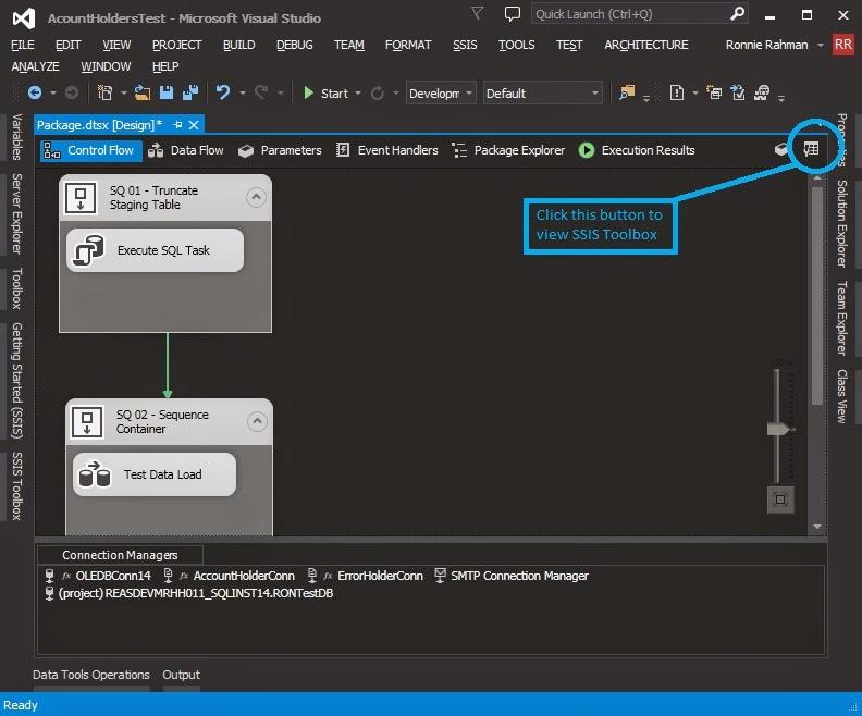Hi! I'm Ronnie Rahman: Visual Studio 2013 - The SSIS Toolbox