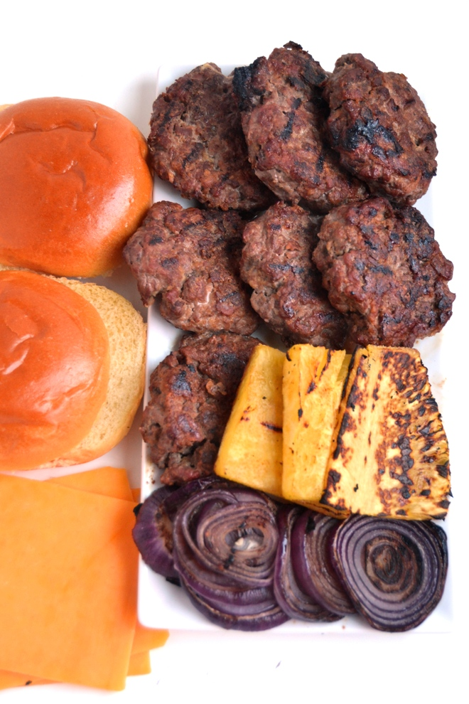 Hawaiian Teriyaki Steak Burgers feature freshly ground burgers, flavorful teriyaki sauce, grilled pineapple and red onions and melted cheddar cheese. www.nutritionistreviews.com