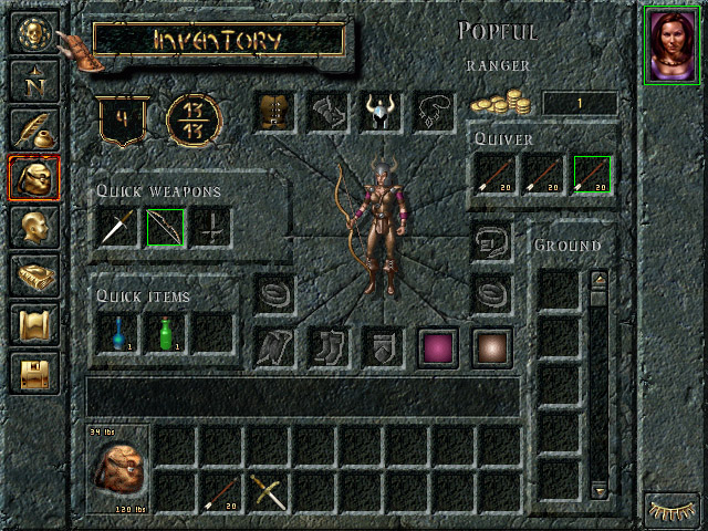 Baldur's Gate inventory screen