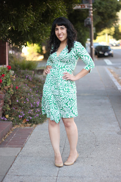 Green Laurel Vintage Print DVF Wrap Dress Blogger Office Style