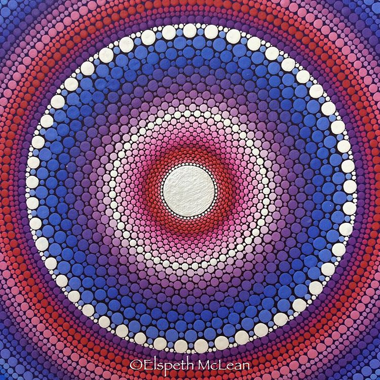 08-Expanding-Elspeth-McLean-Dotillism-Paintings-Mandala-on-Stones-Canvas-and-Clothes-www-designstack-co