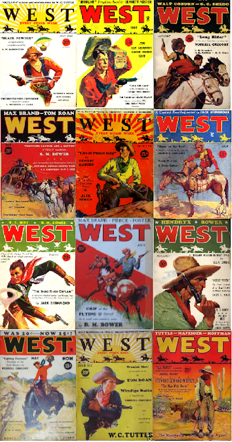 Covers of issues of West magazine from which stories were included in Great Stories of the West ed. Edmund Collier