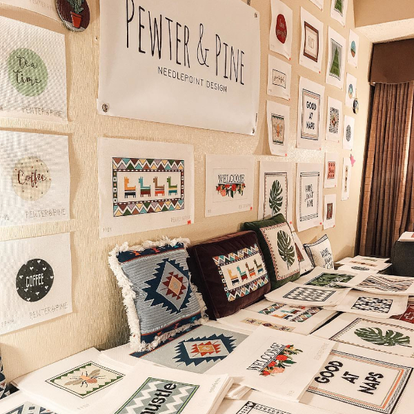 Pewter & Pine Trunk Show at a Local Needlepoint Shop
