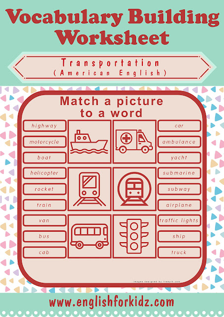 Printable transportation matching worksheet to learn English