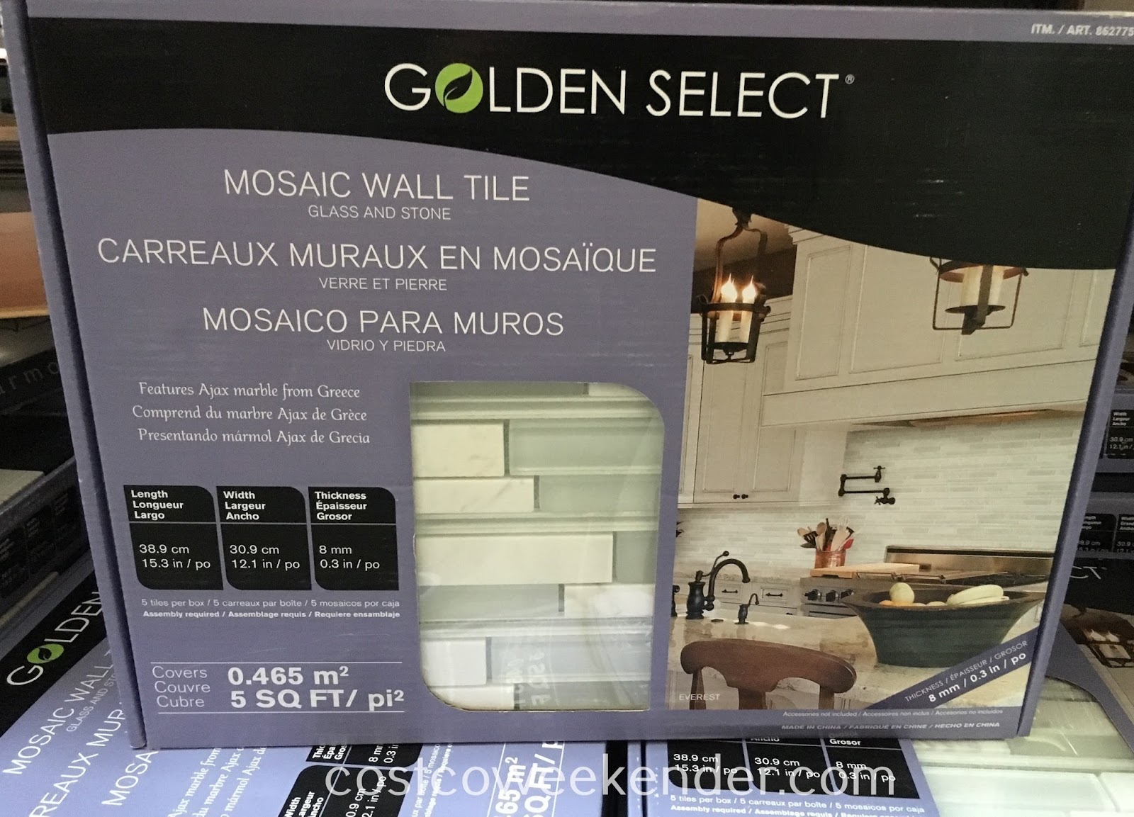 Golden Select Glass and Stone Mosaic Wall Tile - Gives your wall that clean and professional backsplash