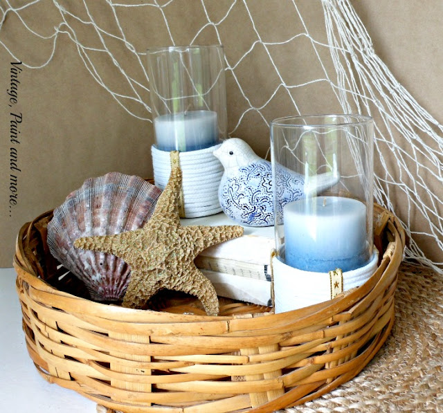 Vintage, Paint and more... rope wrapped candle holders in a beach vignette
