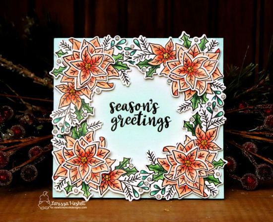 Poinsettia Card by Larissa Heskett | Poinsettia Blooms Stamp Set by Newton's Nook Designs #newtonsnook #handmade