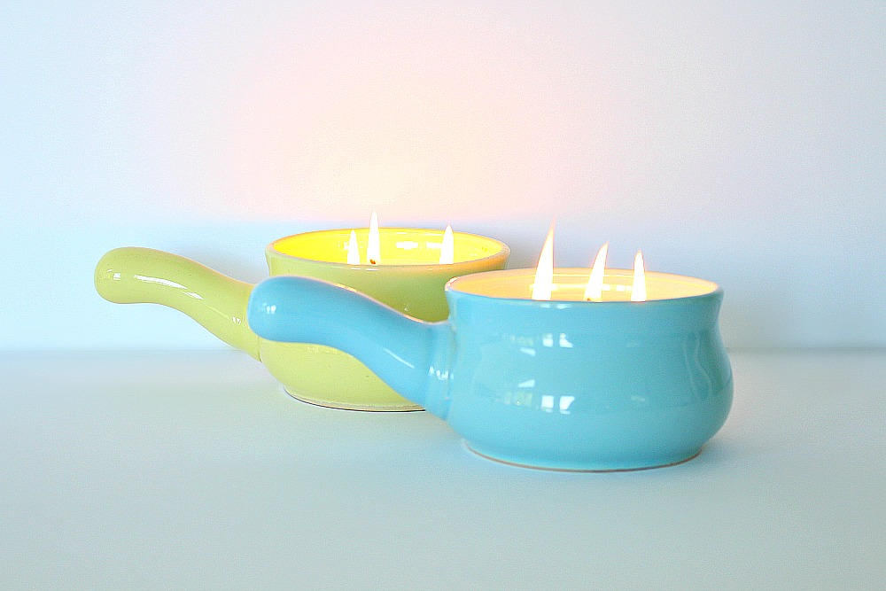 Poured Soy Candles in French Onion Soup Pots