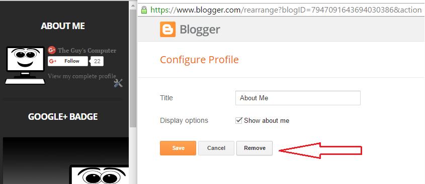 Removing blogger widget