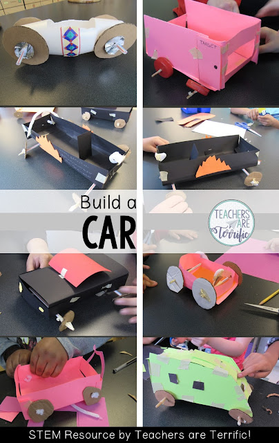 STEM Challenge: Can you build a car ---out of an array of materials? This is a great team building activity that will have your students solving many problems. Students have specific supplies and must design a car that rolls. They must work together to use the supplies in a creative way. Their thinking will truly be tested as they encounter problems to solve. The choices they make of the materials and how to use them is the heart of this challenge.
