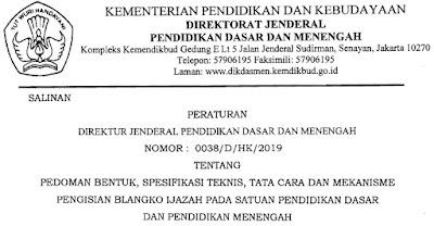 Petunjuk Teknis Pengisian Dan Penulisan Ijazah SD SMP SMA SMK 2019