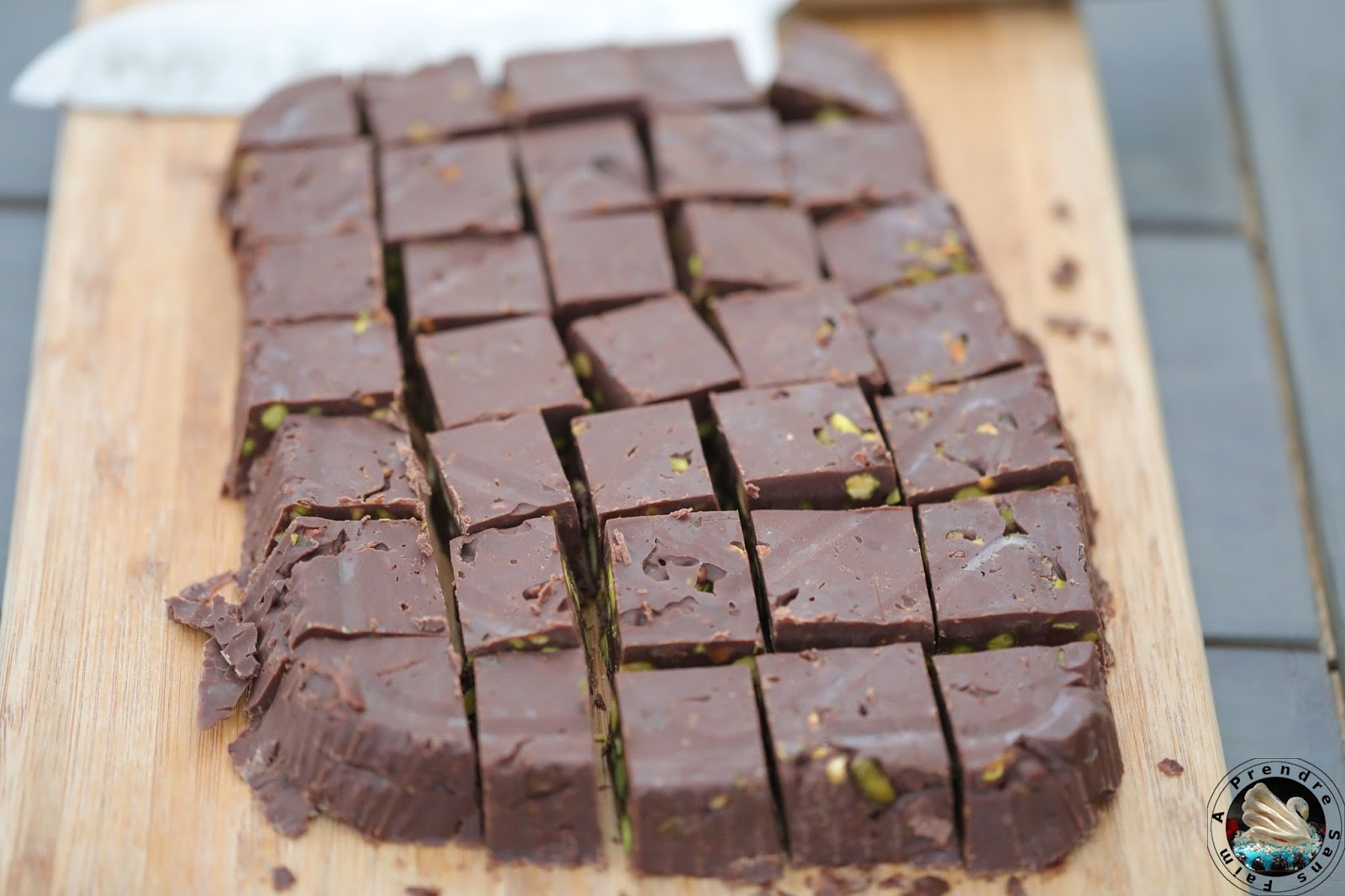 Carrés de chocolat à la pistache