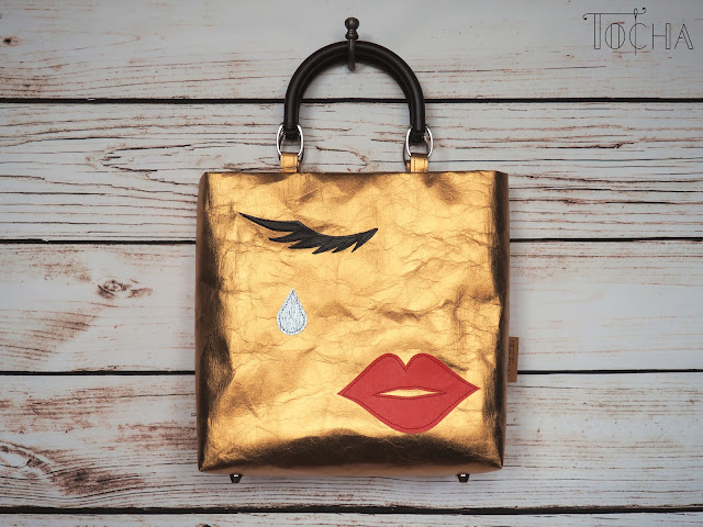 lips, handbag, teardrop, eyelashes, face, golden, bag, Washpapa, red, UV print, stamp, get stamped, vegan bag, vegan, accessories, fashion, damask, lining, bag handles,