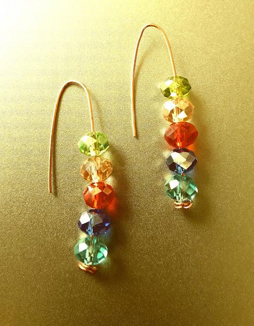 Copper Wire Ear Rings, Copper Wire Bead Rings, Copper Jewelry