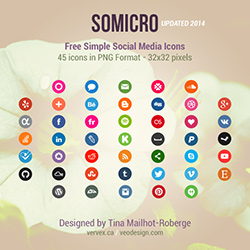 Somicro 45 Free Simple Social Media Icons